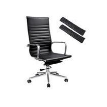 8% off Executive High Back Ribbed PU Leather Swivel Office Computer Desk Chair + Free Shipping