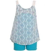 82% off Real Love Turquoise Diamond Pattern Top 2-Piece Shorts Outfit