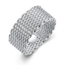 83% off 18K White Gold Plated Sleek Mesh Wire Ring