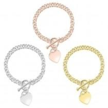 83% off Heart Charm Bracelet in Sterling Silver or 18K Gold Plating