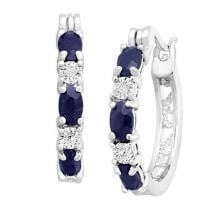 85% off Finecraft Natural Sapphire Hoop Earrings w/ Diamonds in Platinum Over Brass