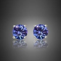 85% off Genuine Tanzanite Round or Oval Shaped Studs in Assorted Styles