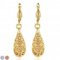 88% off 18K Gold Laser Cut Filigree Drop Earrings