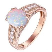 88% off 18K Rose Gold Plated & Fire Opal Cabochon Ring