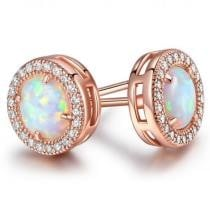 90% off White Fire Opal Round Stud Earrings in 18K Rose Gold
