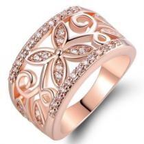 91% off 18K Rose Gold Plated Flower Filigree Ring made w/ Swarovski Elements