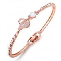 91% off Lab-Created Opal Heart & Key Bangle