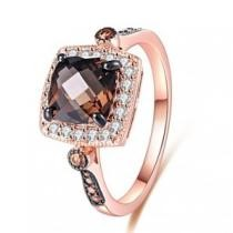 92% off Smoke Topaz & Morganite Halo Cushion-Cut Ring
