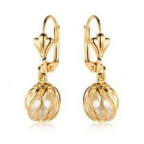 93% off Gold & Pearl Caged Drop Earrings