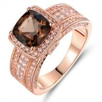 93% off Smokey Topaz Engagement Ring in 18K Rose Gold