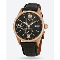 97% off S Coifman Complete Calendar GMT Black Dial Black Leather Men's Watch