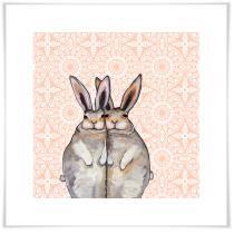Bunny Friends on Bohemian Pattern Wall Art Now $19