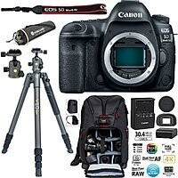 Canon 5D Mark IV DSLR Camera (Body Only) Bundle + Vanguard Tripod & Backpack