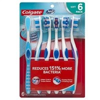 Colgate 360 Toothbrush w/ Tongue & Cheek Cleaner (Soft, 6 Count) $8.97