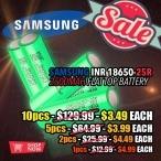 $4.99 Samsung Inr 18650-25r 2500 Mah Flat Top Battery (vs. $14.99) at Fuggin Vapor