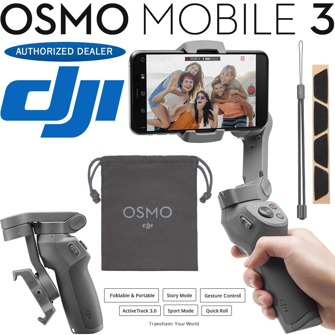 DJI Osmo Mobile 3 Gimbal + 64GB SanDisk Memory + Audio-Technica BT Headphones
