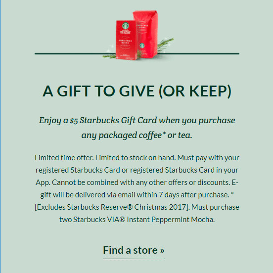 Get $5 Starbucks GC w.y.b. Any Packaged Holiday Coffee or Tea