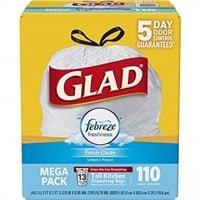 Glad 13-Gallon OdorShield Tall Kitchen Drawstring Trash Bag (Febreze Fresh Clean, 110-Count) $11.62
