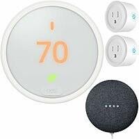 Google Nest Learning Thermostat E + Nest Mini (Gen 2)+ 2-Pk Deco Smart Plug