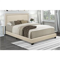 Home Meridian Cream Upholstered Queen Bed $103.99