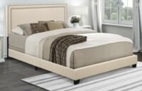 Home Meridian Cream Upholstered Queen Bed plus Nail Head Trim