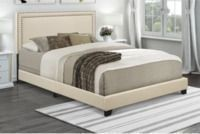 Home Meridian Upholstered Queen Bed w/ Nail Head Trim