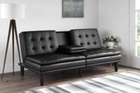 Mainstays Memory Foam Faux Leather PillowTop Futon