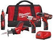 Milwaukee M12 12V Lithium-Ion Cordless 4-Tool Combo Kit