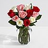 One Dozen Sweetheart Roses w/ Glass vase