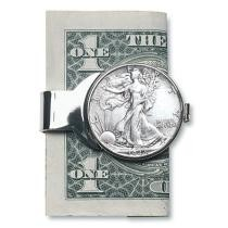 Personalized Silver Liberty Half Dollar Money Clip Now $99.99