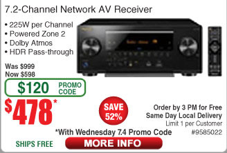 Pioneer Elite SC-LX502 7.2-Channel Network A/V Receiver $478 AC