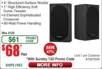 "Pioneer SP-BS22-LR 4"" Andrew Jones Bookshelf Speakers (Pair) $68 AC @Frys (starts 7/22) SP-FS52 5.25"" Floorstanding Speaker $68ea AC"