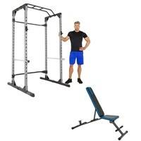 Progear 1600 Ultra Strength 800lb Capcity Power Rack Cage + Progear Adjustable Bench $239