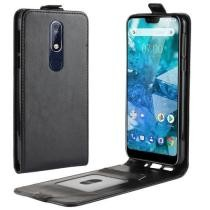 R64 Texture Single Fold Vertical Flip Leather Case for Nokia 7.1 in Black Now $2.26