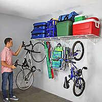 "SafeRacks Wall Shelf Combo Kit, Two 18""x 48"" Shelves, Four Deck Hooks"