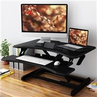 "Slypnos 30"" Pneumatic Height Adjustable Desk Raiser w/ Keyboard & Mouse Tray $78.99"