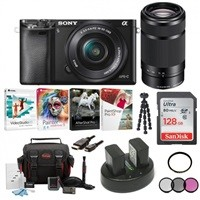 Sony Alpha A6000 24MP Mirrorless Camera Bundle w/ 16-50mm & 55-210mm Lenses, MORE $598