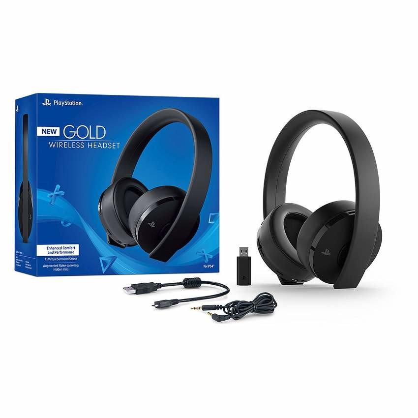 Sony PlayStation Gold Wireless Headset 7.1 Surround Sound PS4 New Version 2018 for $80.70 + FS