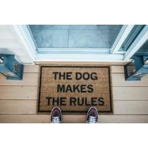 The Dog Makes the Rules Funny Doormat Now $32