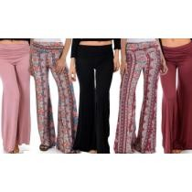 Up to 78% off Lyss Loo Women's Soft and Cozy Paisley Fold-Over Flare Pants