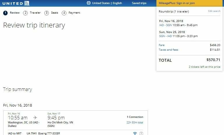 Washington DC to Ho Chi Minh City Vietnam $571 RT on ANA / United Airlines (travel Aug-Nov)