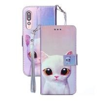 White Cat Pattern Horizontal Flip Blu-ray Leather Case for Huawei P20 Pro Now $2.72
